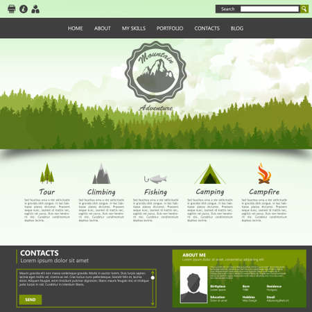 camping site: Camping Website template with Label design and Mountains, pine forest Illustration
