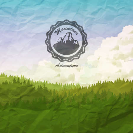 overlook: Vector Background with Label design with Mountains, pine forest