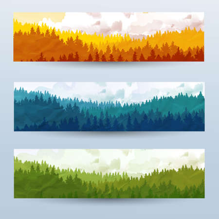 Horizontal abstract banners of hills of coniferous wood with mountain goats in different tone. Ilustração