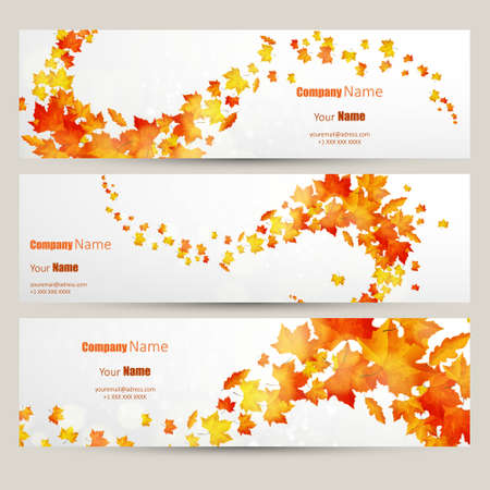 Vector set of colorful autumn leaves banners illustration Çizim