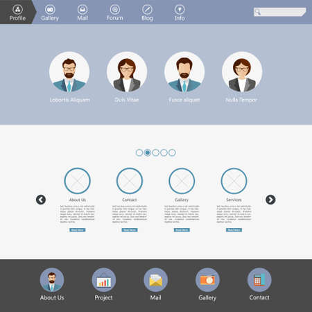 Set of flat web elements, icons and buttons for web design
