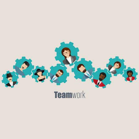 Moderno concepto de negocio, la idea del trabajo en equipo y el éxito