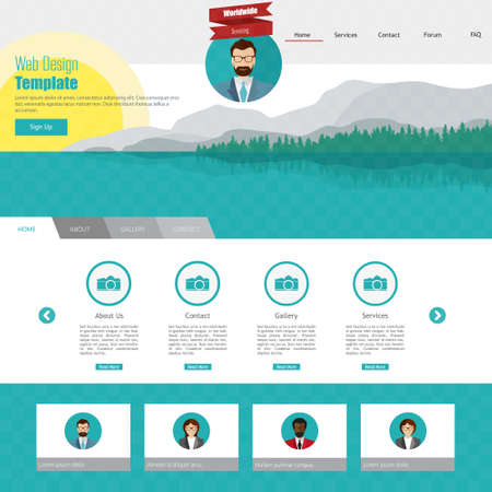 menu land: Flat ldesign landscape on Flat Website Template Illustration