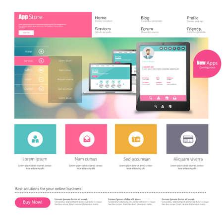 sjabloon: Platte Kleurrijke Website Template Design Stock Illustratie