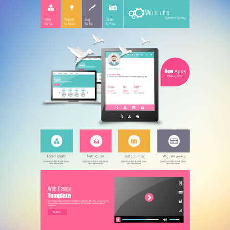 nav: Flat vector website template with computer screen, smartphone, tablet icons set