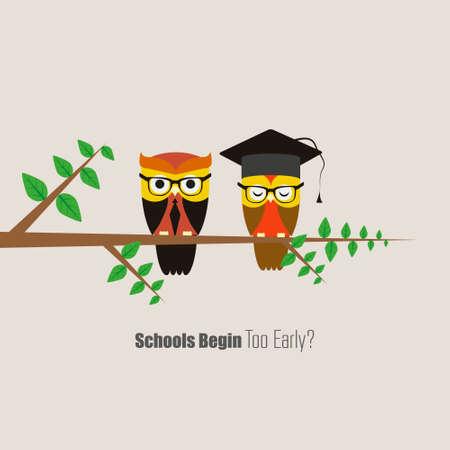 Vector Set of Cute School and Graduation Themed Owls Vector