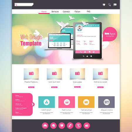 web site design template: Flat Colorful website template with clean modern design. Illustration