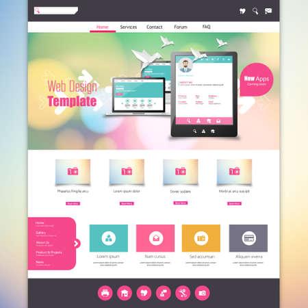 sjabloon: Platte Kleurrijke website sjabloon met schoon modern design.