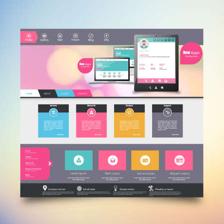 sidebar: Flat Colorful website template with clean modern design. Illustration