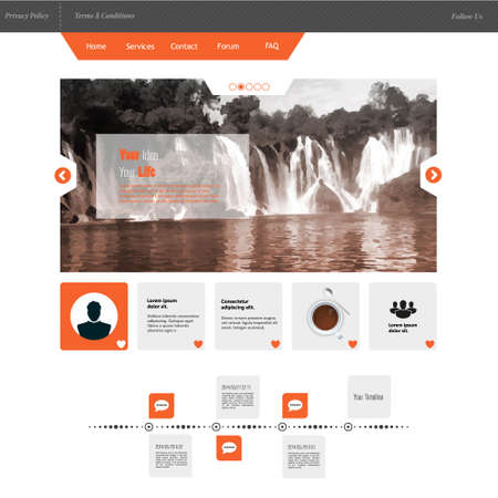 illustraion: Flat Business Website template with Waterfall Illustraion