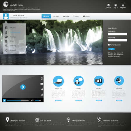 Business Website template with Waterfall Illustraion Vector