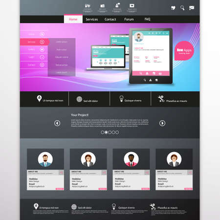 nav: vector website template with mobile gadgets displaying backend as a service Illustration