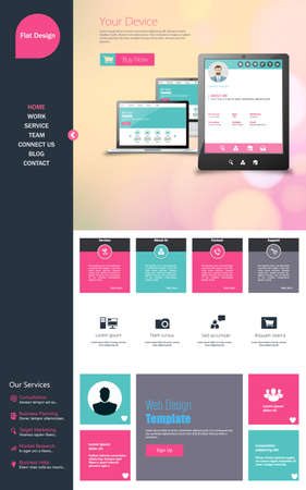 kit design: Flat One page website design template. All in one set for website design that includes one page website templates
