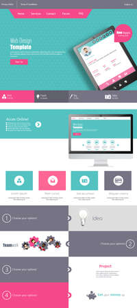 kit design: Modern Flat One page website design template.