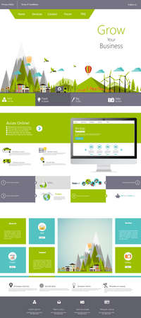 Modern Flat Eco One page website design template. Illustration