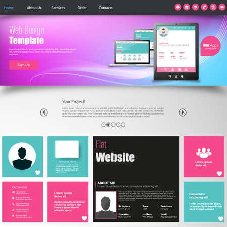 mobile website: Colorful website design template.