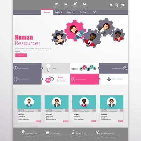 Flat Website Template Vector Design