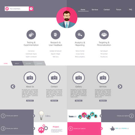 kit design: Flat Website Template Vector Design