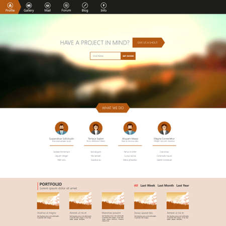 website backgrounds: Flat One Page Website Template with Blurred Backgrounds