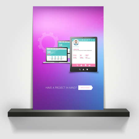 profesional: Corporate transparent flyer, banner or cover design with Smartphone and laptop and colorful abstract design. Illustration