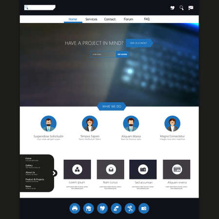 pressed: website template for business presentation, with blured background, Illustration