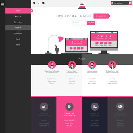 Flat Website Template (Homepage, Portfolio, About, Contact) Vector