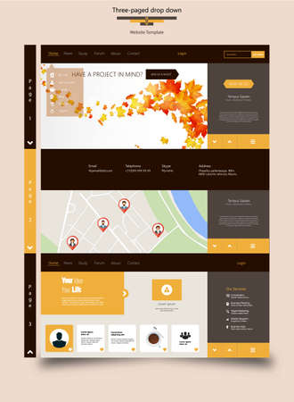 page down: Three Page Drop Down Flat Website Template
