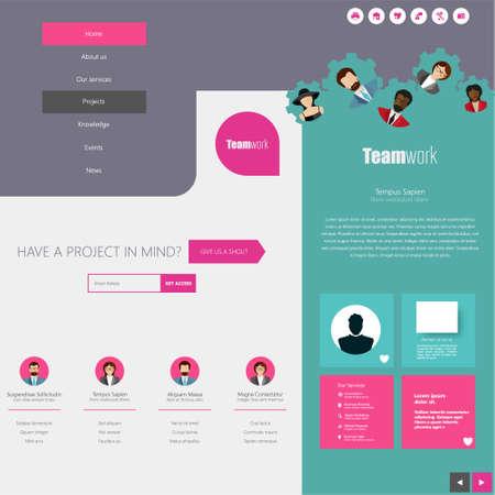 newsletter template: Website Design Template with UI Elements kit, Flat Design Concept.