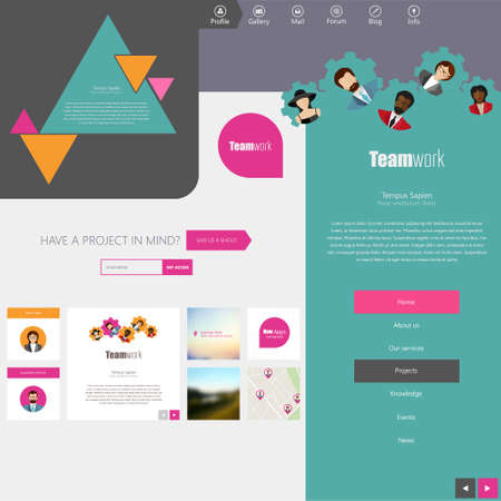 newsletter: Website Design Template with UI Elements kit, Flat Design Concept.
