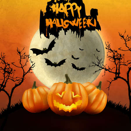 Halloween Party Background with Pumpkins in the Grass Bats and Moon in the Back Vector