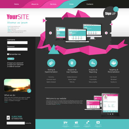 Flat Website template with abstract elements Vector