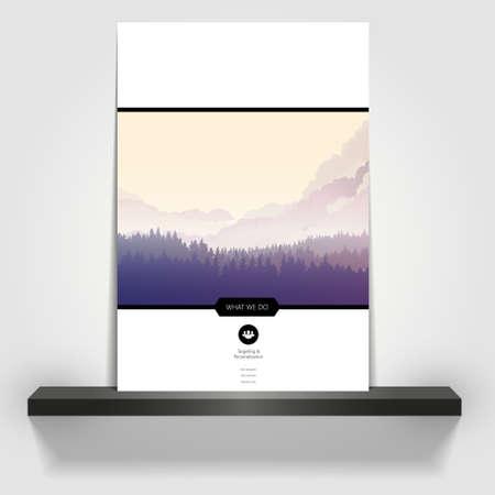overlook: Business Flyer or brochure cover design. Pineforrest landscape illustration Illustration