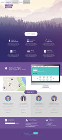 newsletter: Flat Style One Page Website Template Vector Eps 10