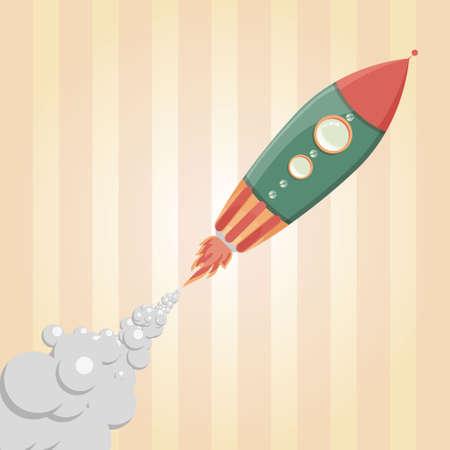 blasting: Comic Rocket Ship  Illustration of a cartoon retro iron spaceship blasting off and flying