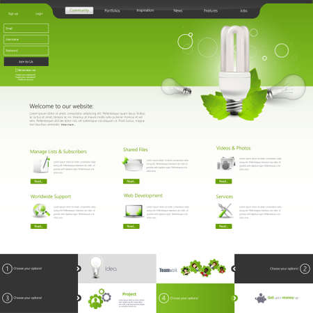set design: Green eco website layout template