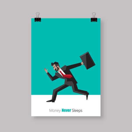 zapatos caricatura: Dise�o del cartel, de simple caricatura de un hombre de negocios en ejecuci�n