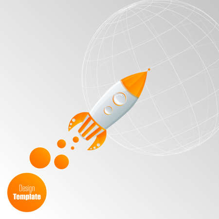 Rocket on the grey background. Eps 10 vector file. Vector