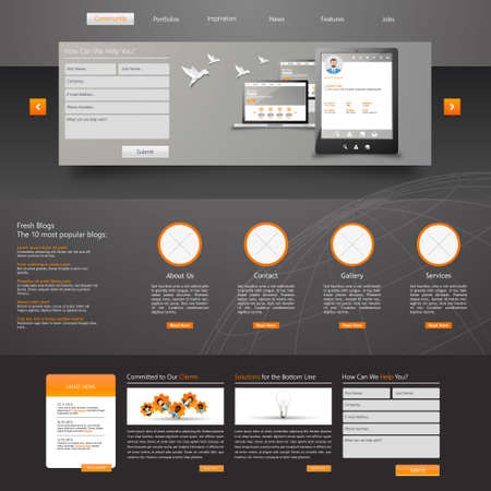 submenu: Web Design, elements, buttons, icons. Templates for website.