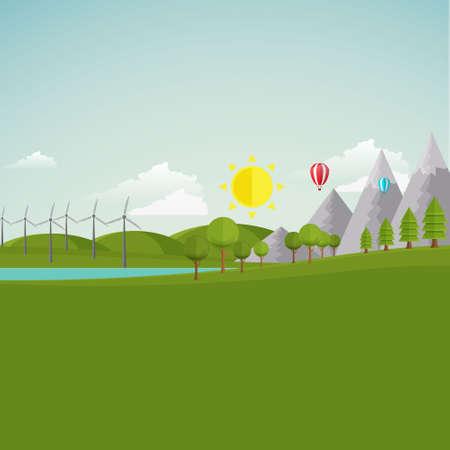 windfarm: Ecologia del Paesaggio Illustrazione  Piano Stile  Vettoriali