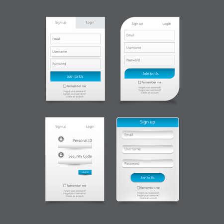 login icon: Clean Member Login Set Design Illustration