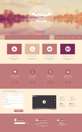 One Page Website Template with a retro vintage instagram colors, filter, and blurred background