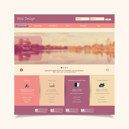 web page: Website Template with a retro vintage colors, filter, and blurred background