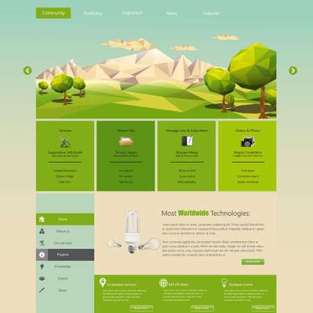 green planet: Modelo moderno del Web site de Eco con eco plana ilustraci�n paisaje