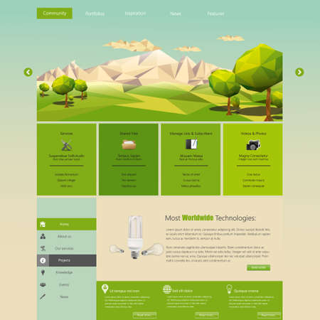 green bulb: Modern Eco website template with flat eco landscape illustration Illustration