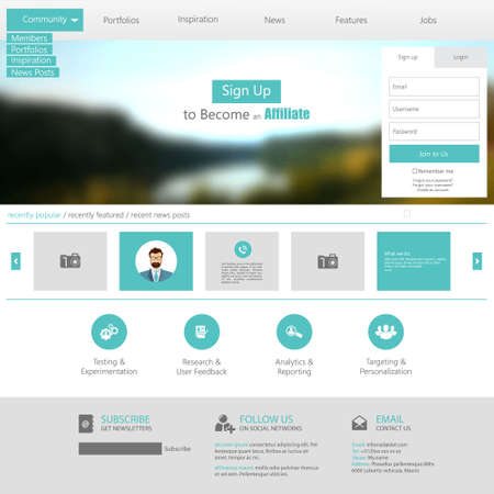 page layout: Flat Web Design elements. Templates for website.