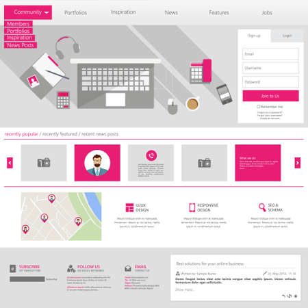 page long: Flat Website Template (Homepage, Portfolio, About, Contact)