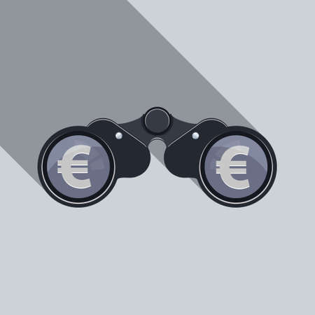 Business Background. Binoculars Icon with euro sign. Illustration