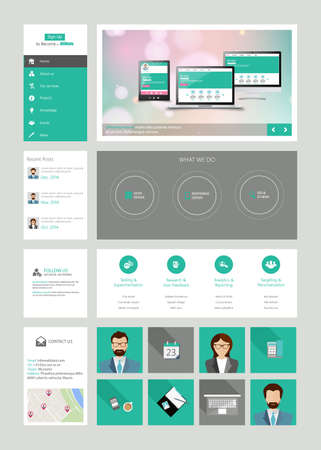 website: One page website design template in flat design style Illustration