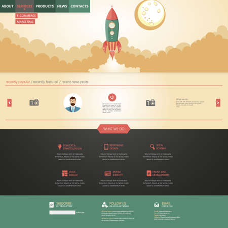 portfolio template: flat design style website template with rocket retro spaceship illustration Illustration