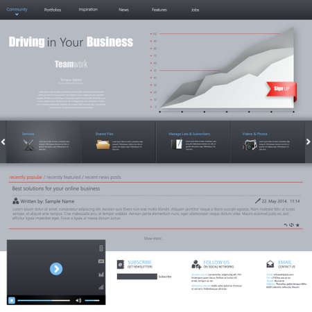 webtemplate: Clean Business Professional Website Template, Eps 10, Vector illustration.